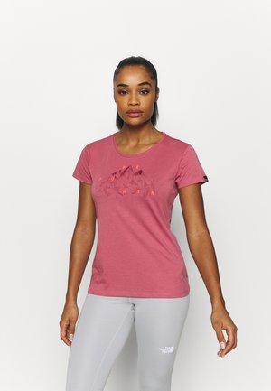 GEOMETRIC TEE - Print T-shirt - mauvemood melange