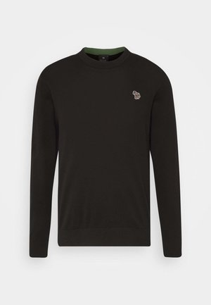 MENS CREW NECK ZEBRA - Strickpullover - black