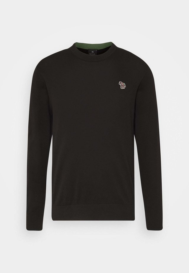 MENS CREW NECK ZEBRA - Jumper - black