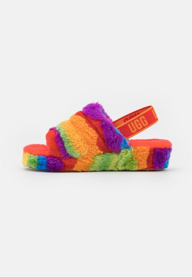 FLUFF YEAH SLIDE CALI COLLAGE - Domácí obuv - rainbow