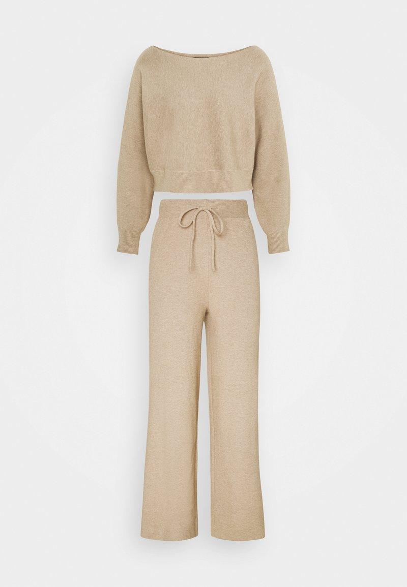 Even&Odd - SET STRICK - Jumper & Wide leg trouser - Stickad tröja - sand