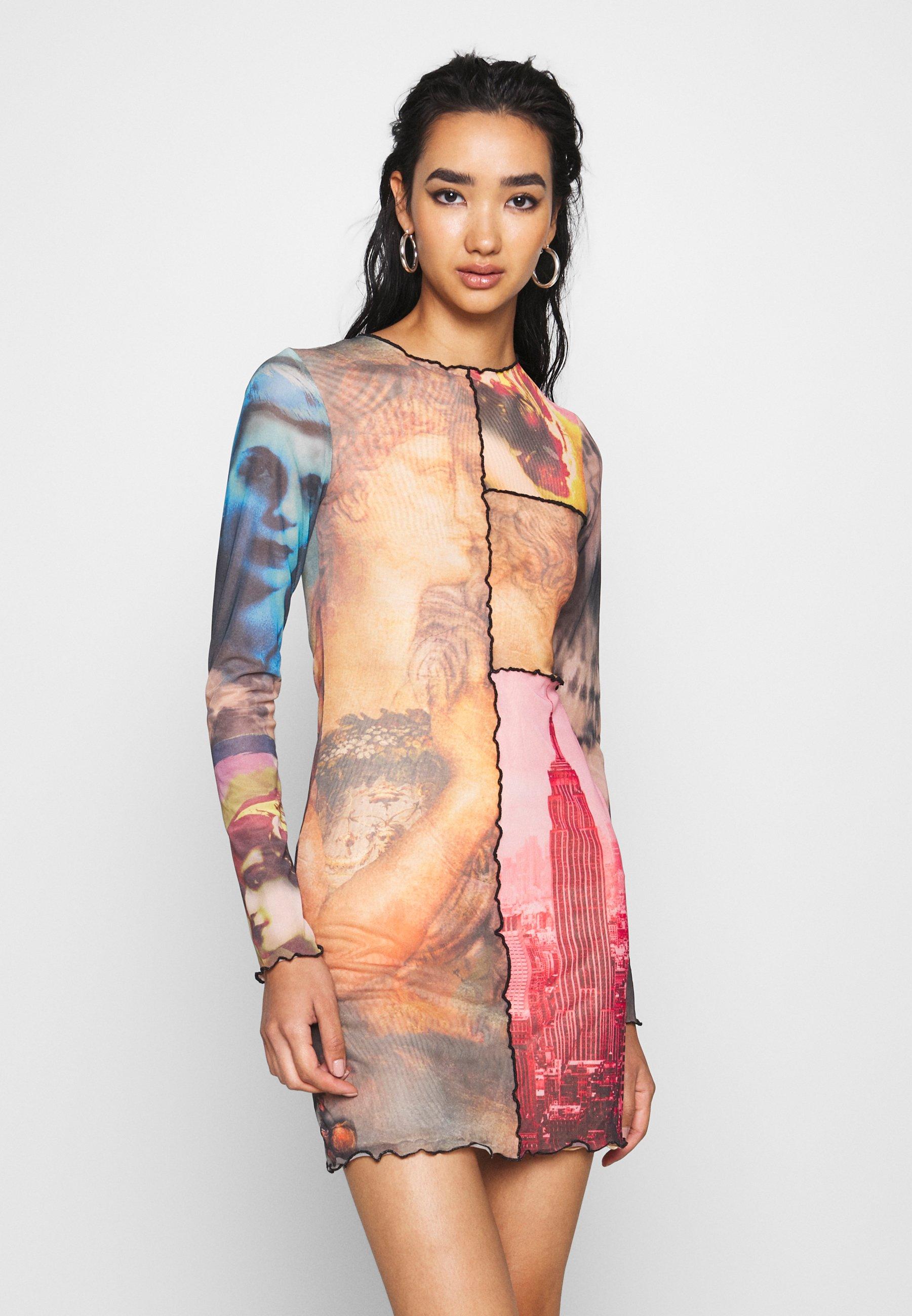 PANELLED DRESS WITH BABYLOCK SEAMS MASH UP VINTAGE PRINTS - Day dress