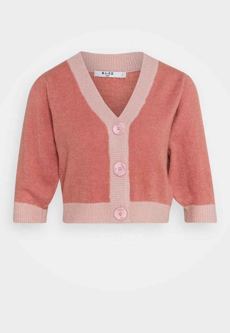 NA-KD - BUTTON CROPPED CARDIGAN - Strickjacke - pink