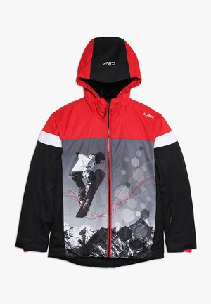 BOY JACKET FIX HOOD - Ski jacket - nero/ferrari