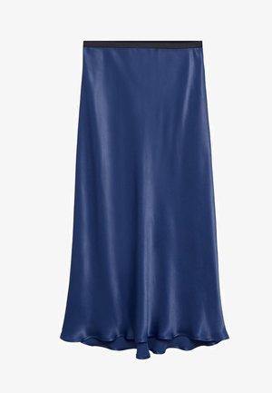 SATIN-A - A-line skirt - marineblå