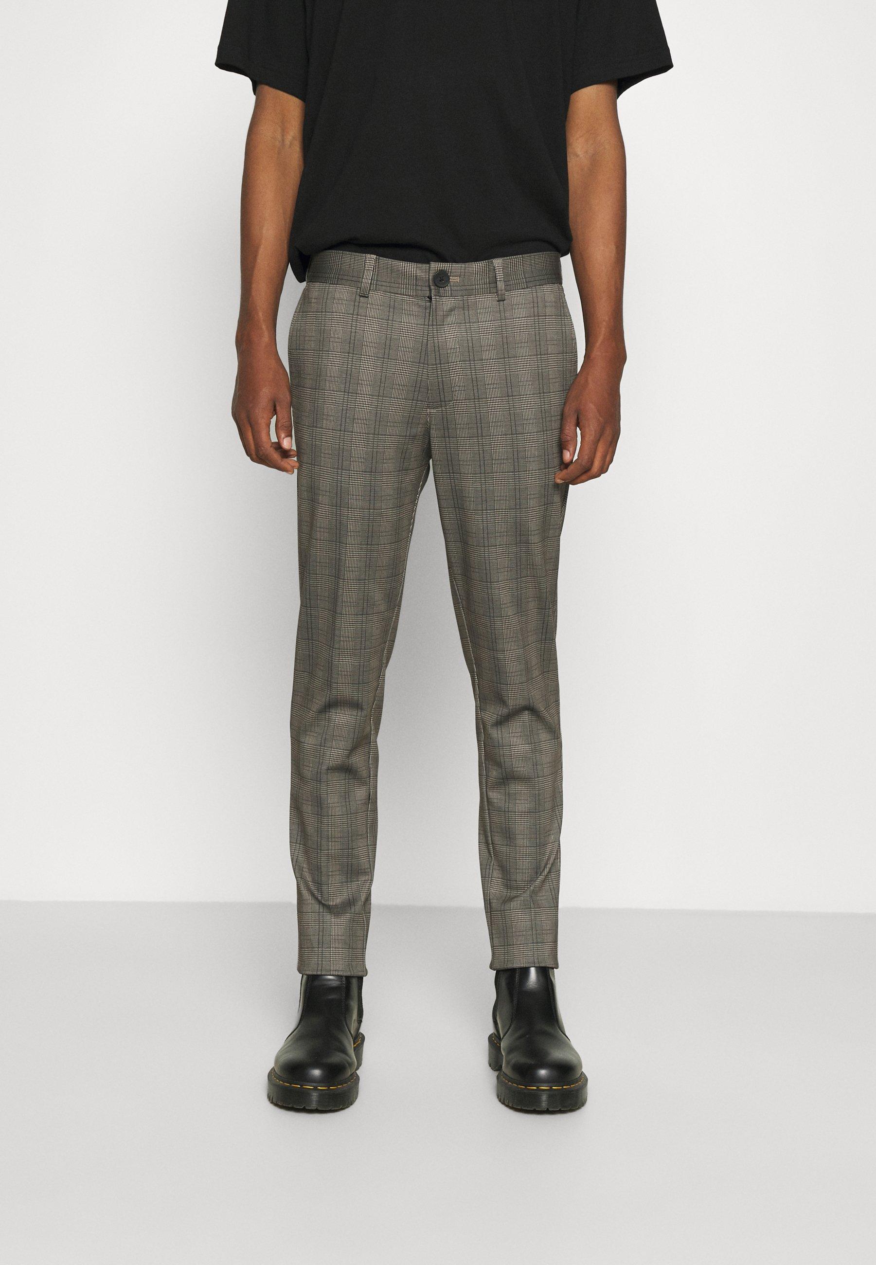 Homme JJIMARCO BROWN CHECK - Pantalon classique