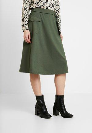 DENA SOLID - A-line skirt - dark army