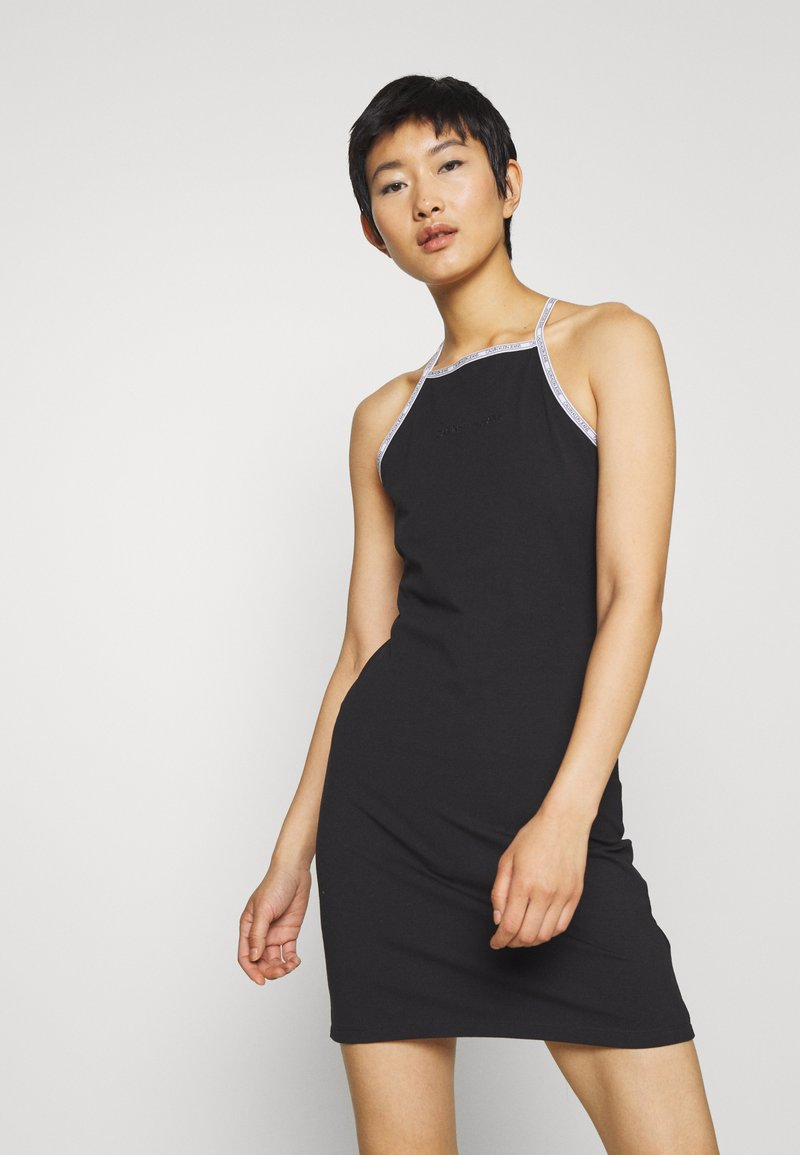 Calvin Klein Jeans - LOGO TRIM TANK DRESS - Vestito di maglina - black