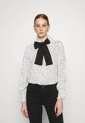 GET TOGETHER RUFFLE BOW BLOUSE - Button-down blouse - ivory