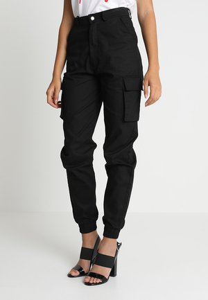 PLAIN CARGO TROUSER - Bojówki - black