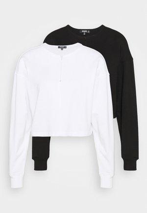 INSERTED ZIP CROP 2 PACK - Sweatshirt - white/black