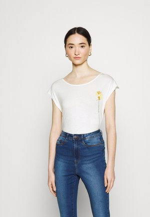 VIAPER EMBROIDERY - T-shirts med print - snow white/yellow