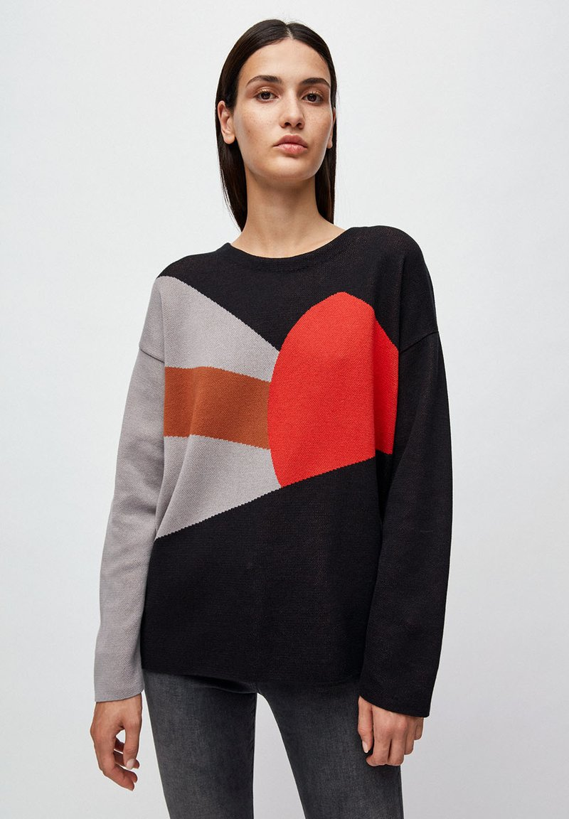 ARMEDANGELS - SMILLAA BRICKS & TILES - Jumper - black/maroon