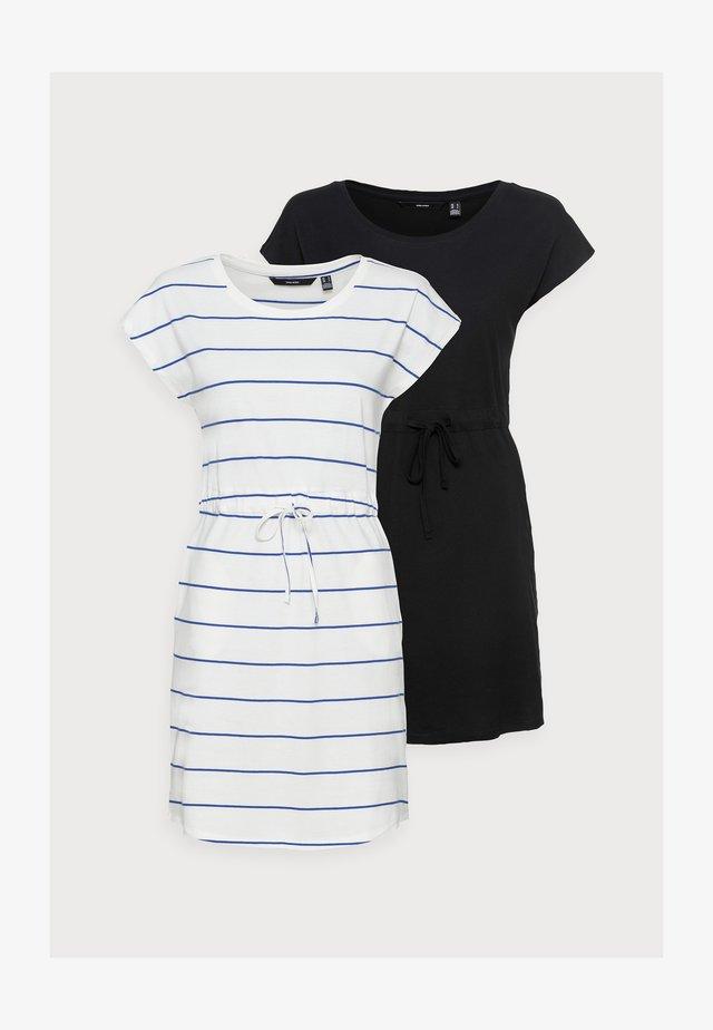 VMAPRIL SHORT DRESS 2 PACK - Jersey dress - black/snow white/dazzling blue