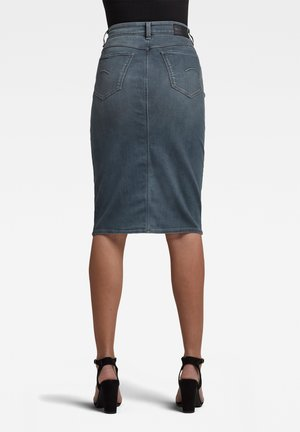 NOXER NAVY PENCIL BUTTON - Denim skirt - worn in smokey night