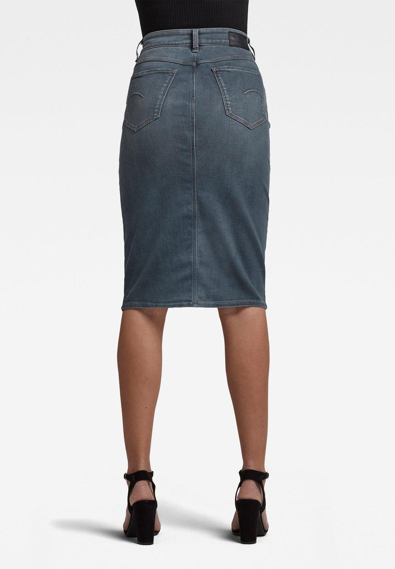 G-Star - NOXER NAVY PENCIL BUTTON - Denim skirt - worn in smokey night