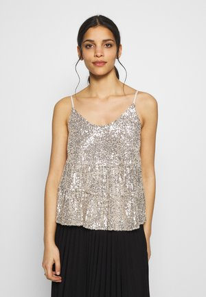 TIERED SEQUIN CAMI - Topper - silver