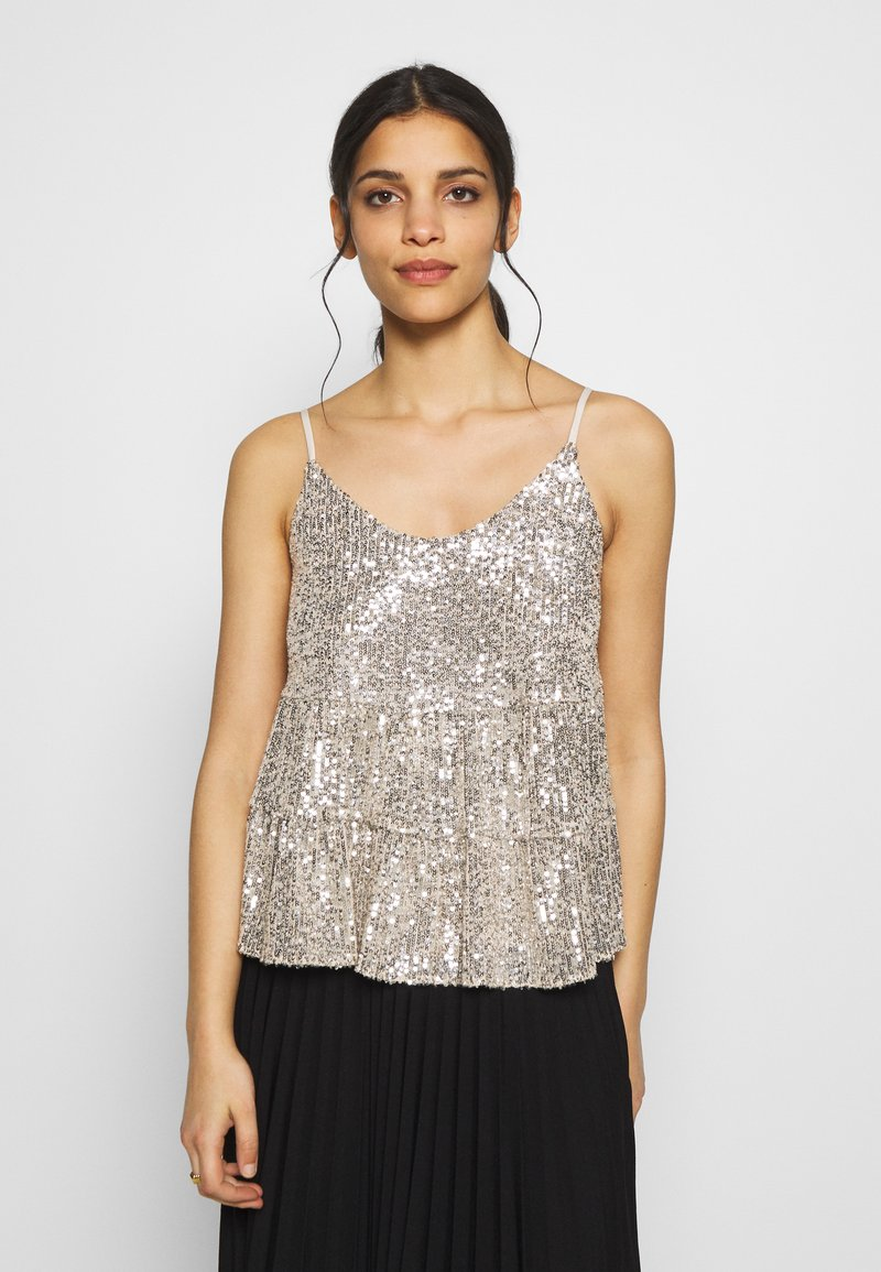 Dorothy Perkins Petite - TIERED SEQUIN CAMI - Top - silver