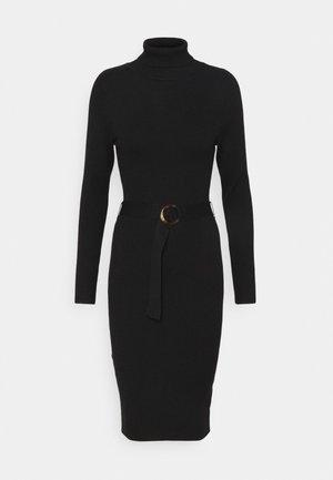 BELTED ROLL NECK MIDI DRESS - Jumper dress - black