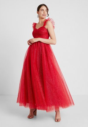 GLITTER MAXI DRESS WITH RUFFLE SLEEVE - Robe de cocktail - red/gold