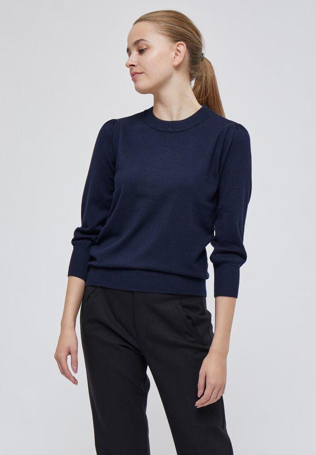 MERSIN - Stickad tröja - black iris solid