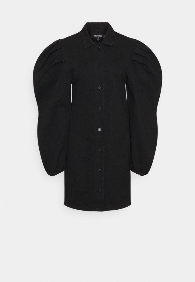 PUFF SLEEVE DRESS - Shirt dress - black