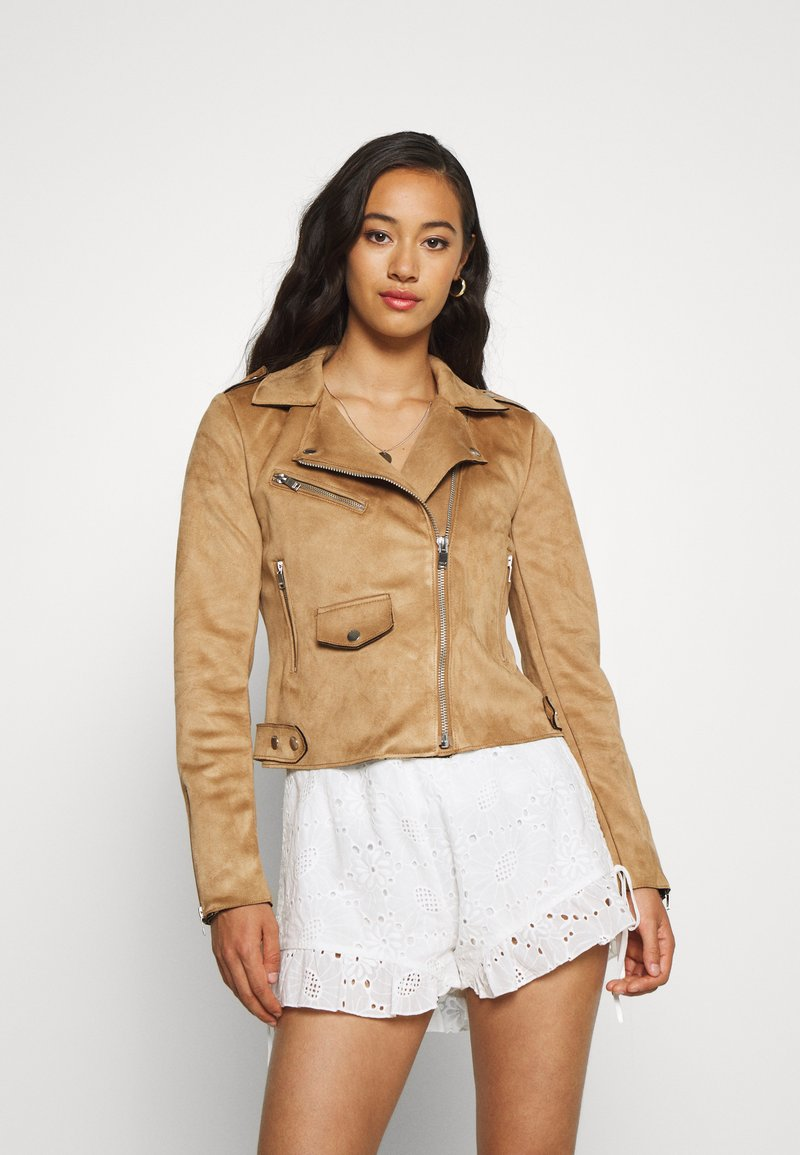 ONLY - BIKER - Faux leather jacket - toasted coconut
