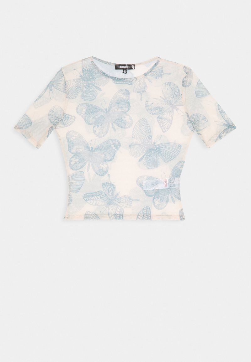 Missguided - BUTTERFLY TOP - T-shirt con stampa - nude
