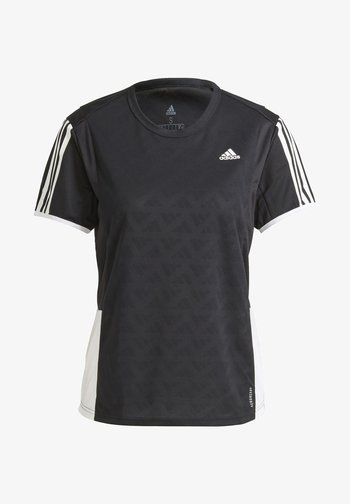 OWN THE RUN 3-STRIPES ITERATION T-SHIRT - T-shirts med print - black