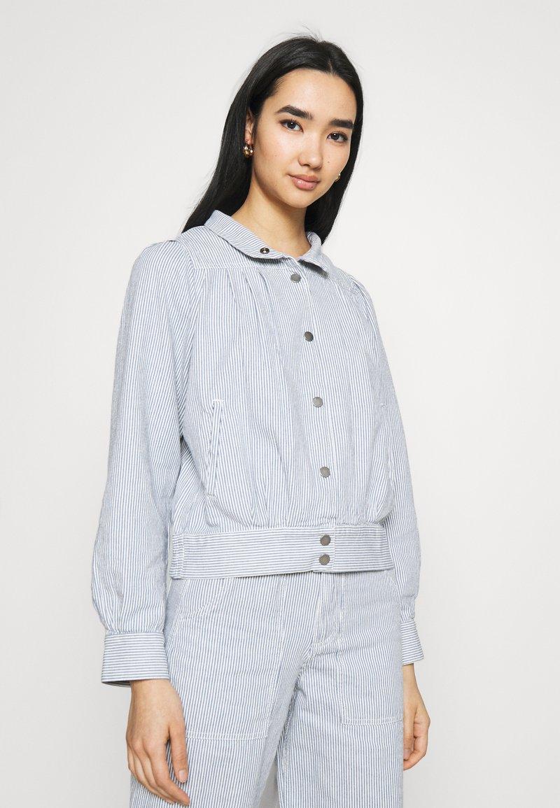 Dedicated - JACKET JUNGBY THIN STRIPE - Summer jacket - blue