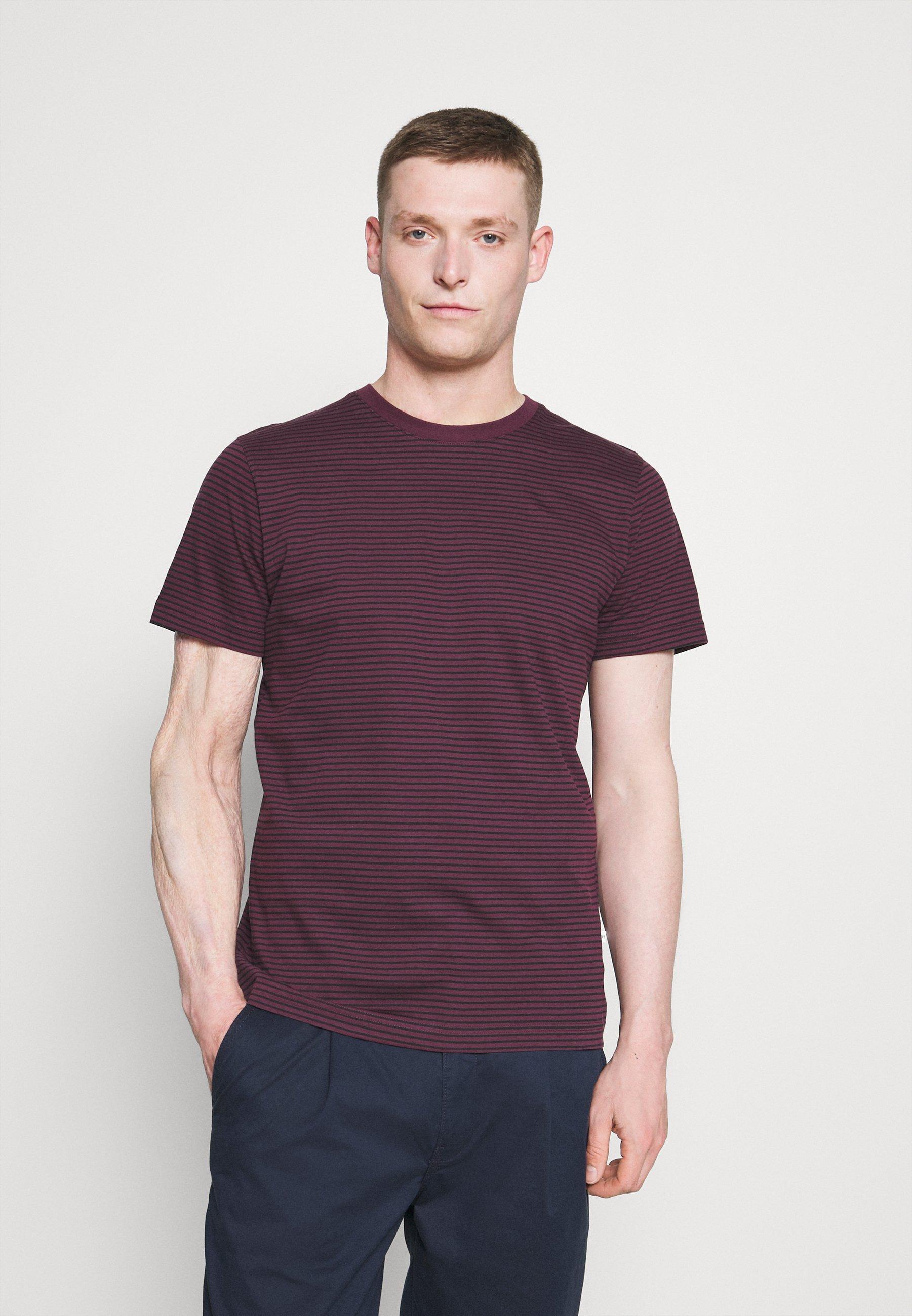 Homme SLHNORMAN STRIPE O NECK TEE - T-shirt imprimé