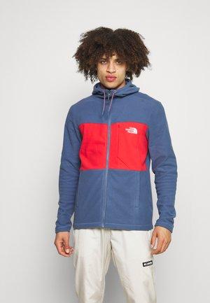 BLOCKED HOODIE - Fleece jacket - teal/dark red