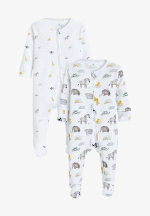2 PACK SAFARI ZIP SLEEPSUIT - Pyjamas - white