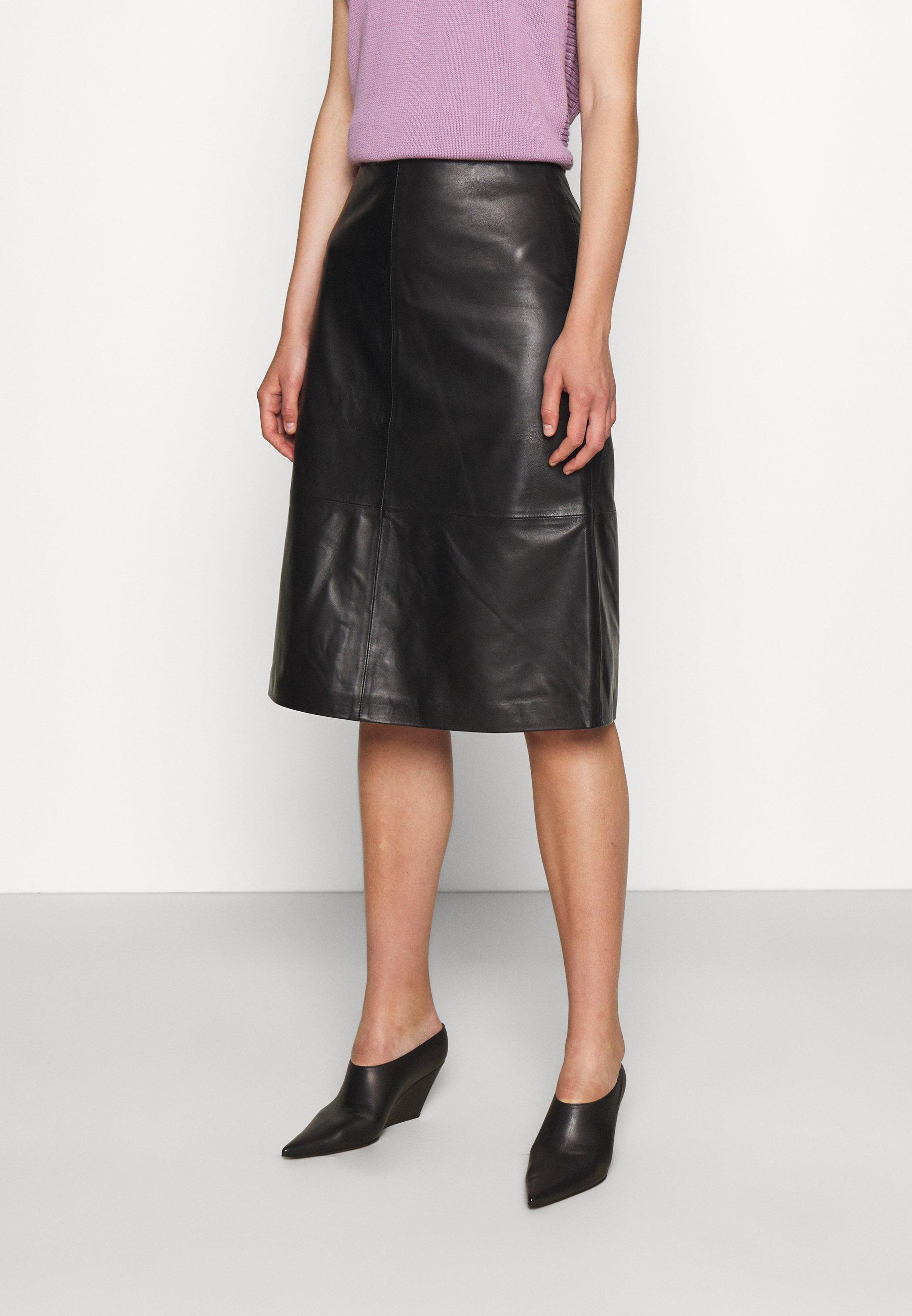 Women MIDI SKIRT - Leather skirt