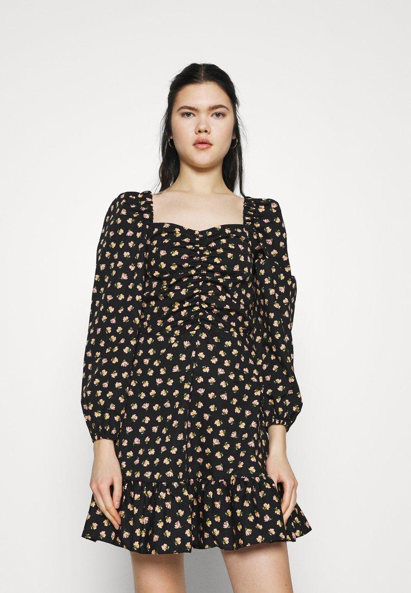 Miss Selfridge - DITSY POPLIN SQUARE NECK DRESS - Day dress - black