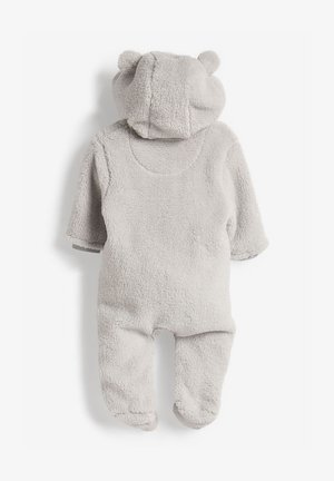 ECRU COSY FLEECE BEAR PRAMSUIT (0MTHS-2YRS) - Mono - grey