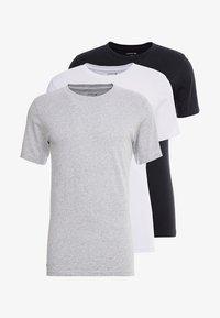 Lacoste - SLIM FIT TEE 3 PACK - Undershirt - black/mottled grey/white - 3