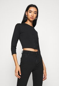 Missguided - BUTTON FRONT LONG SLEEVE CROP 2 PACK - Topper langermet - black white - 1
