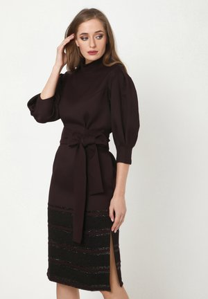 MARENA - Shift dress - pflaume schwarz
