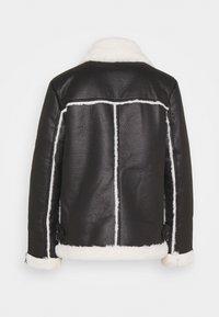 Miss Selfridge - CONTRAST AVIATOR LONGLINE - Faux leather jacket - black - 1