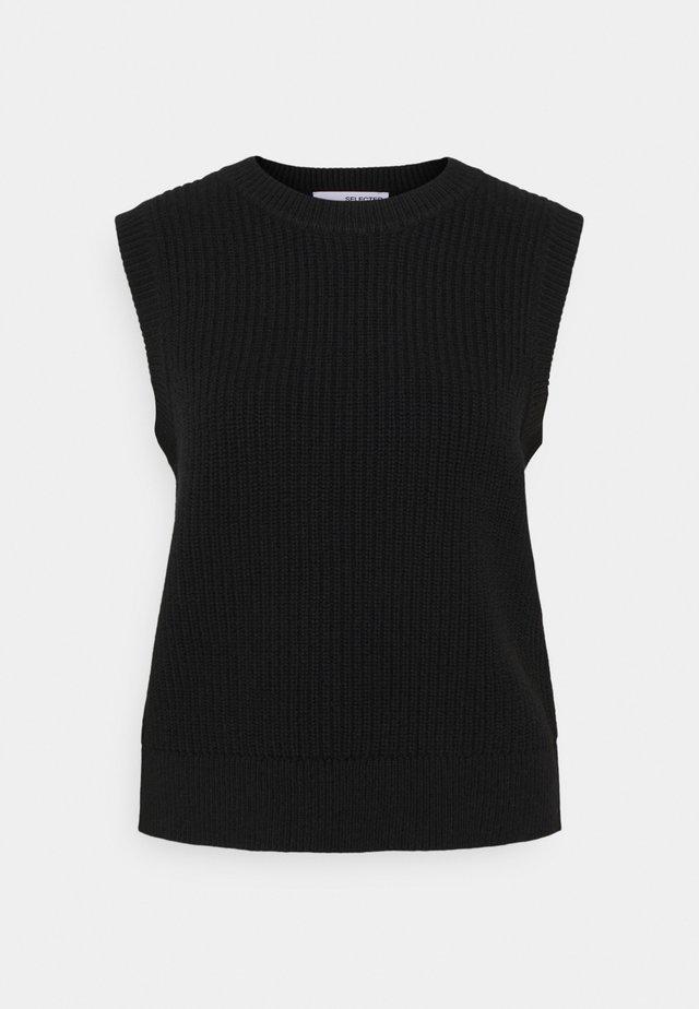 SLFJOS VEST - T-shirts med print - black