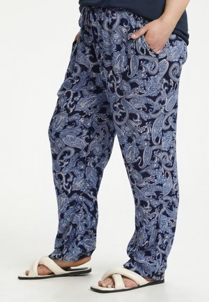 Trousers - blue paisley print