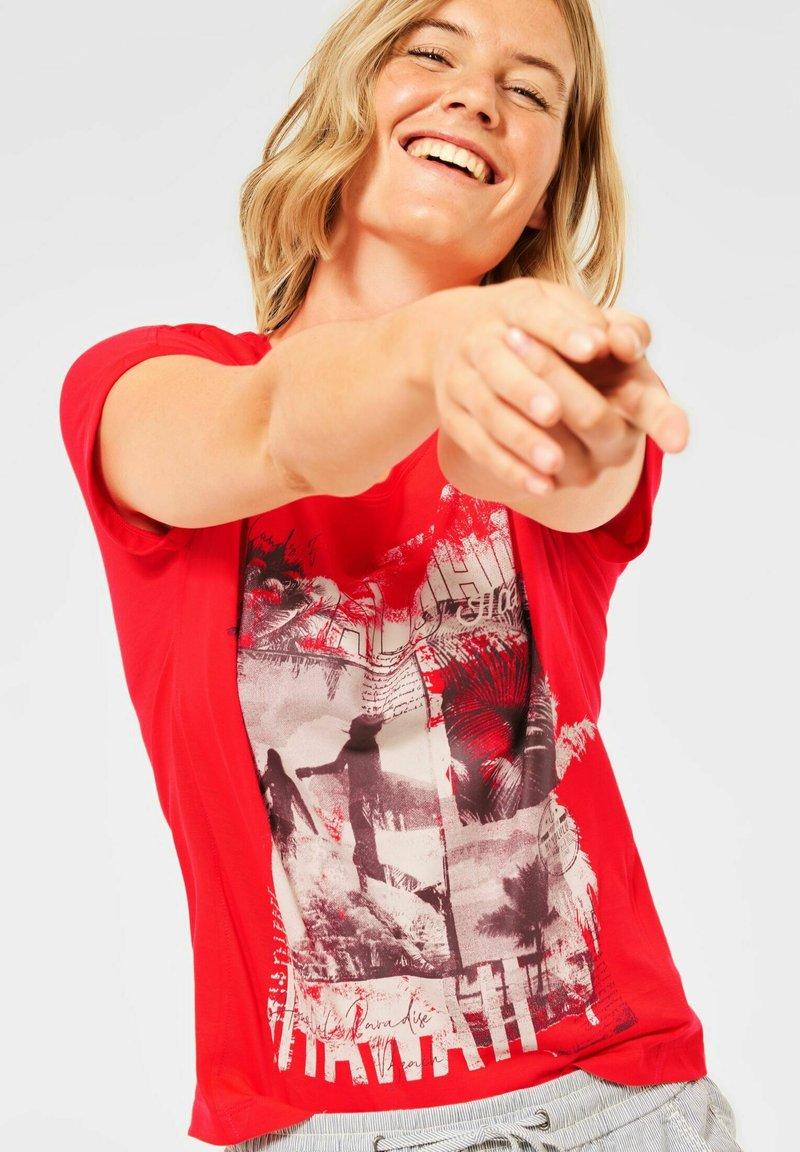 Cecil - Print T-shirt - rot