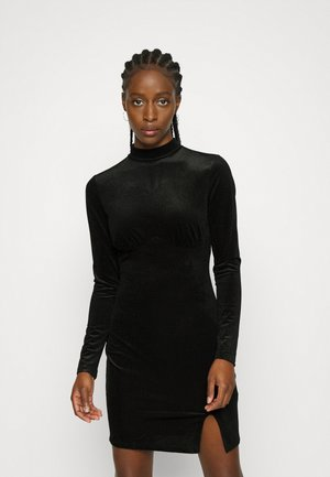 LONG SLEEVE MINI DRESS - Day dress - black textured velvet