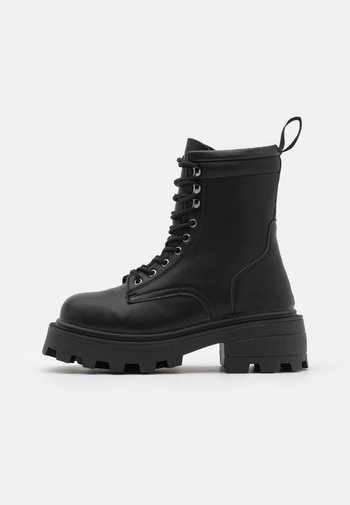 BAE SQUARE TOE LACE UP - Platform ankle boots - black