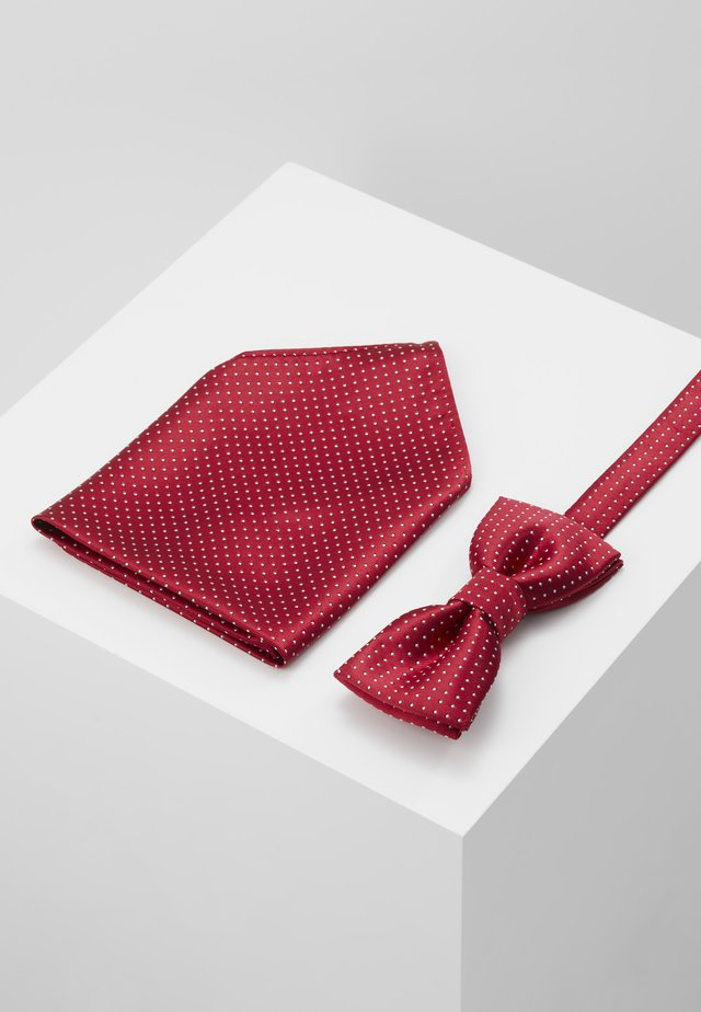 ONSTBOX THEO TIE SET - Pocket square - pompeian red/white