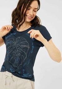 Cecil - MIT BURNOUT-OPTIK - Print T-shirt - blau - 0