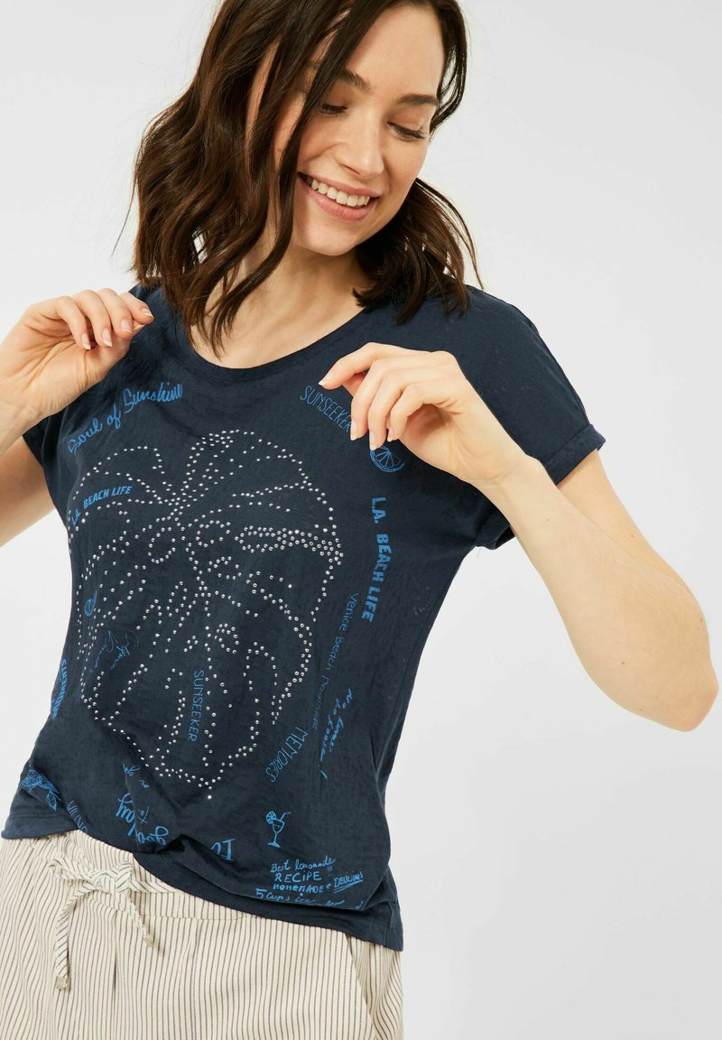 Cecil - MIT BURNOUT-OPTIK - Print T-shirt - blau