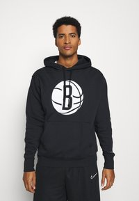 Nike Performance - NBA BROOKLYN NETS LOGO HOODIE - Club wear - black/white - 0