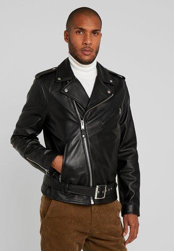 WITH BELT PERFECTO - Kožená bunda - black